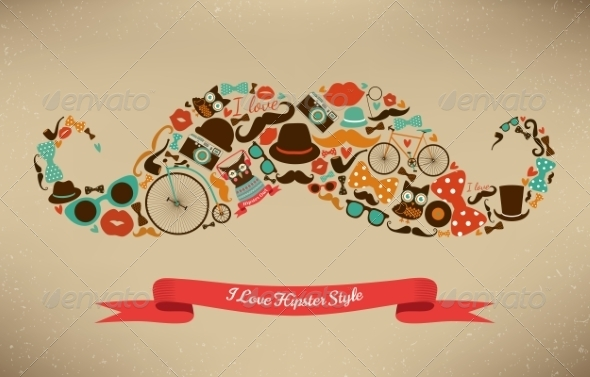 GraphicRiver I Love Hipster Style Icon Set in Moustache Shape 7584303