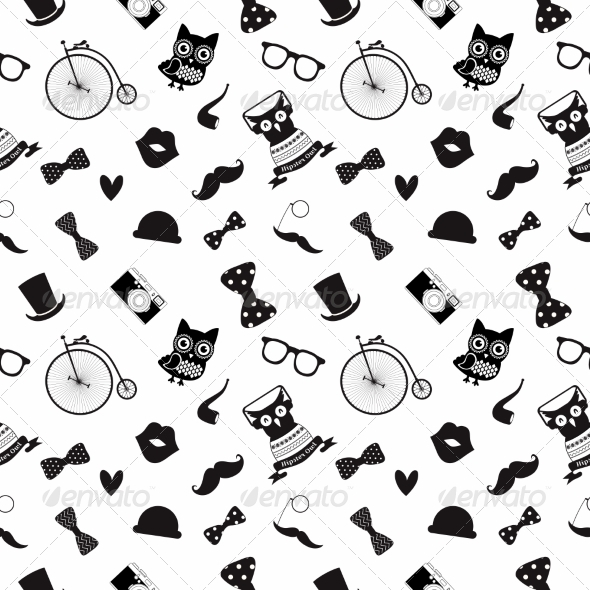 GraphicRiver Hipster Black and White Seamless Pattern 7584360