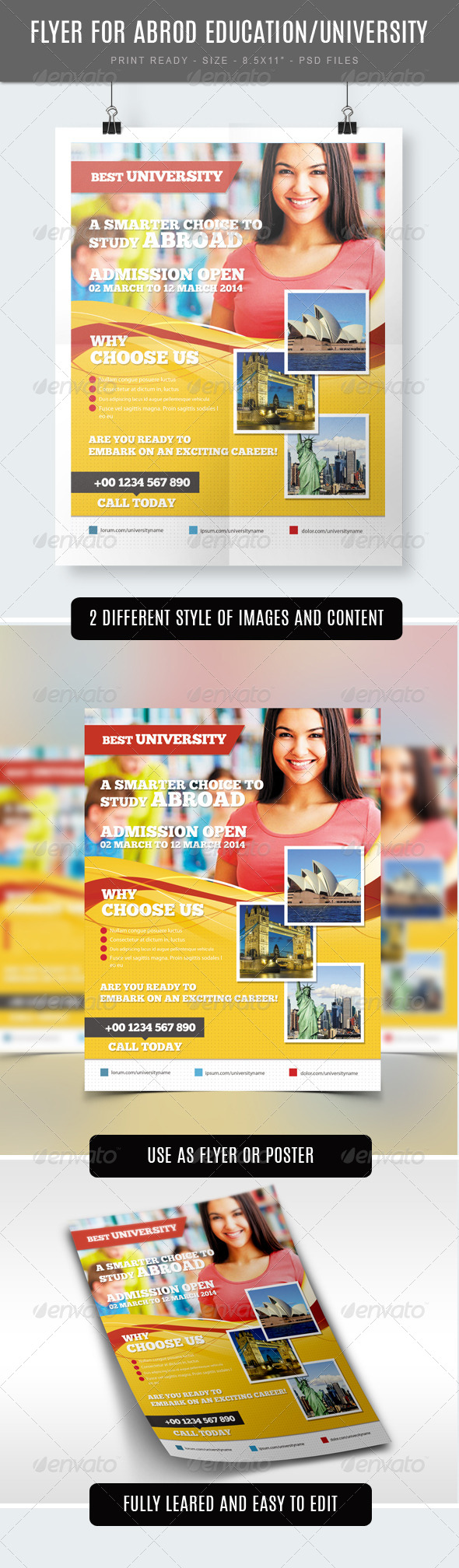 GraphicRiver Study Abroad University College Flyer Template 7584453
