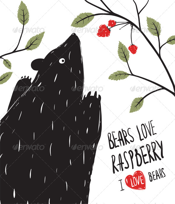 GraphicRiver Wild Black Bear Loves Raspberry 7584455