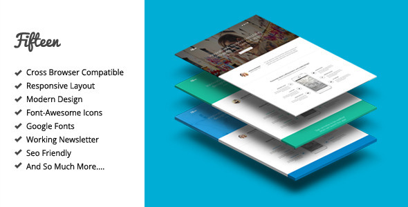 ThemeForest Fifteen Responsive Landing Page Template 7585356