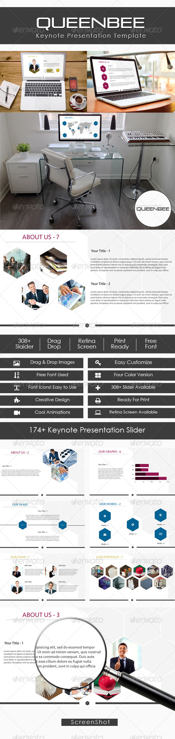 GraphicRiver QueenBee Creative Keynote Presentation 7586058