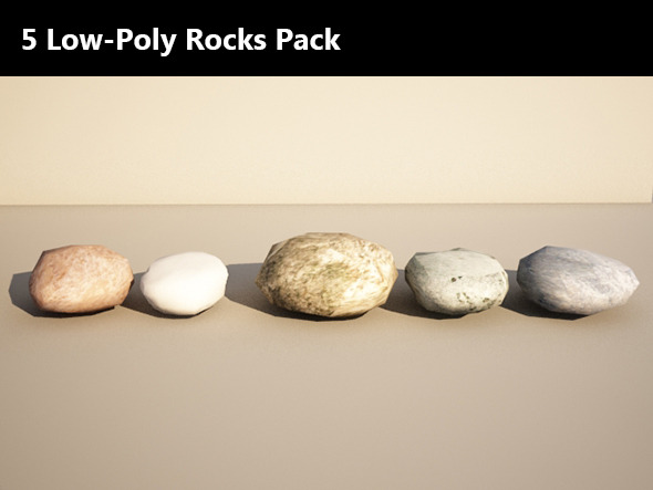 3DOcean 5 Low Poly Rocks Pack 7586062