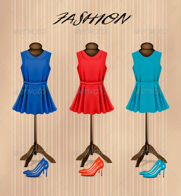 GraphicRiver Retro Fashion Boutique with Dresses 7586477