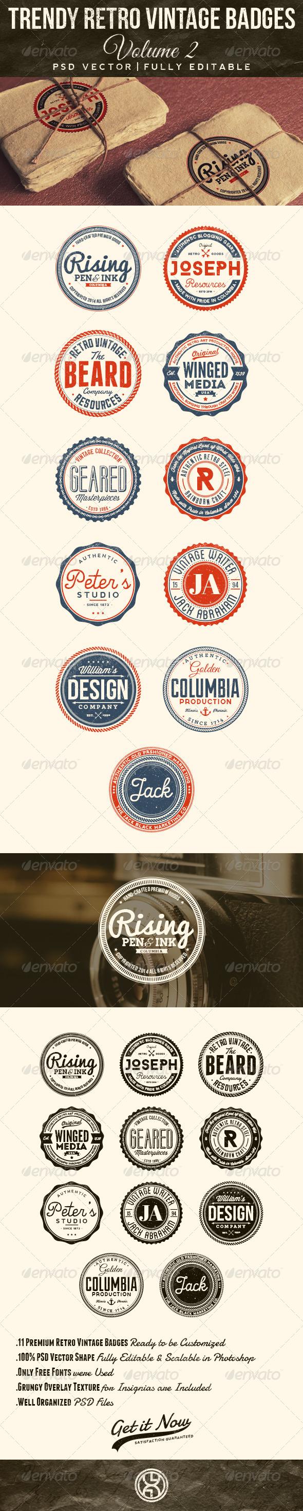 GraphicRiver Trendy Retro Vintage Badges Volume 2 7586669
