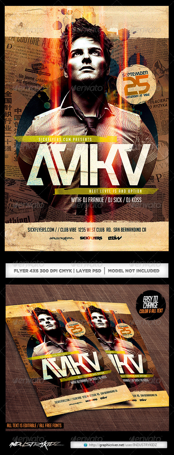 GraphicRiver Electro Dance Guest DJ Flyer Template PSD 7588381