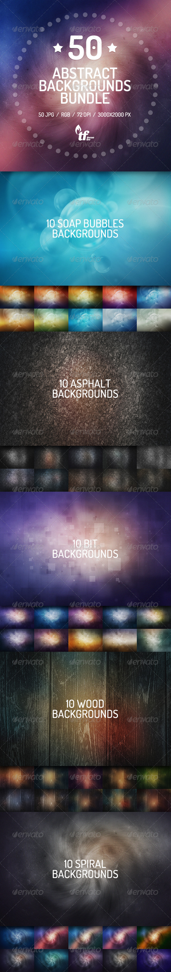 GraphicRiver 50 Abstract Backgrounds Bundle 7588986