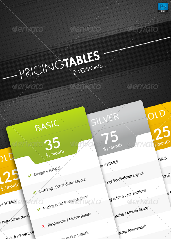 GraphicRiver Pricing Tables 7589063