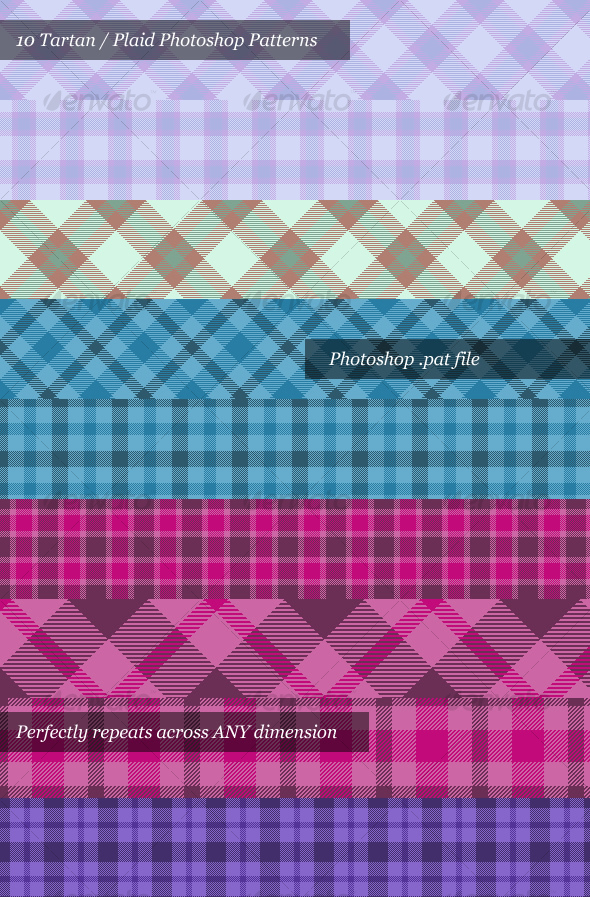 Tartan / Plaid Photoshop Patterns (Pack of 10) - Textures / Fills / Patterns Photoshop