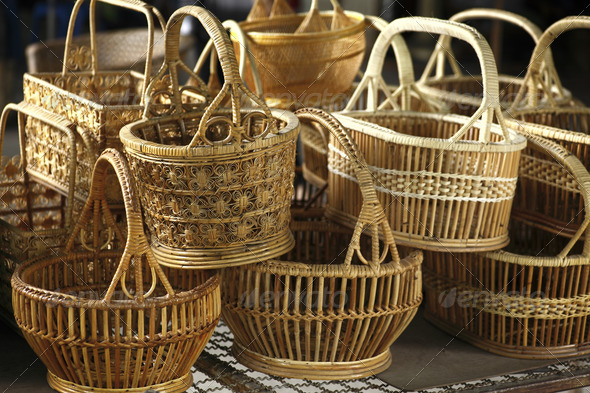 Basket wicker is Thai handmade. - Stock Photo - Images