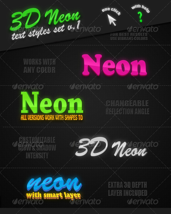 GraphicRiver 3D Neon Text Styles v.1 7564235