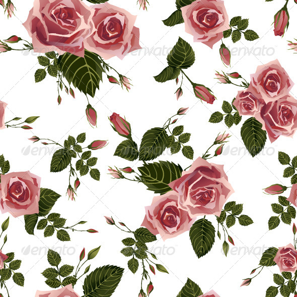 GraphicRiver Seamless Floral Pattern with Pink Roses 7591825