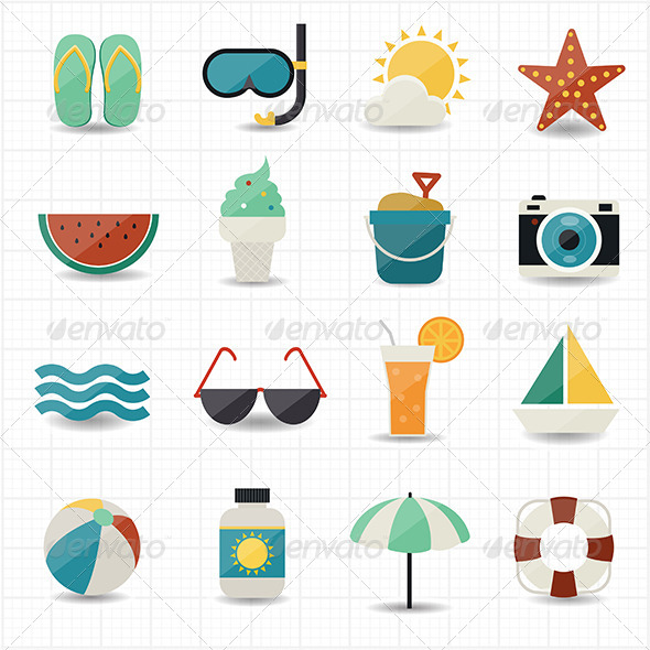 GraphicRiver Summer and Beach Icons 7592720