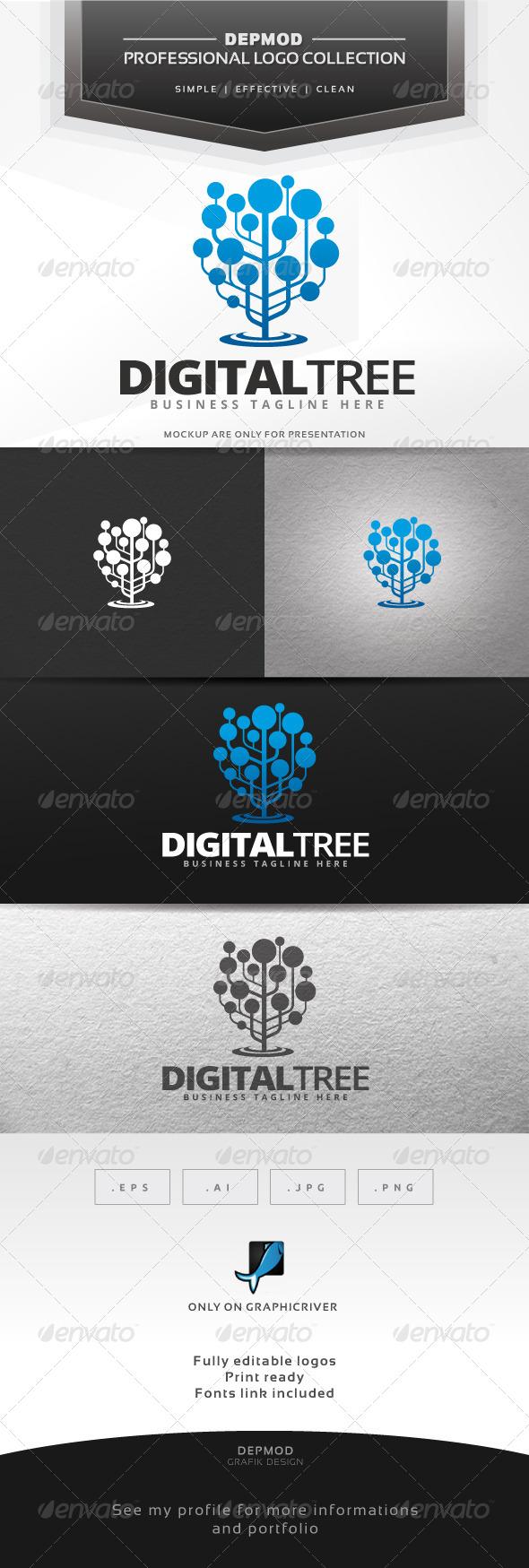 GraphicRiver Digital Tree Logo 7593329