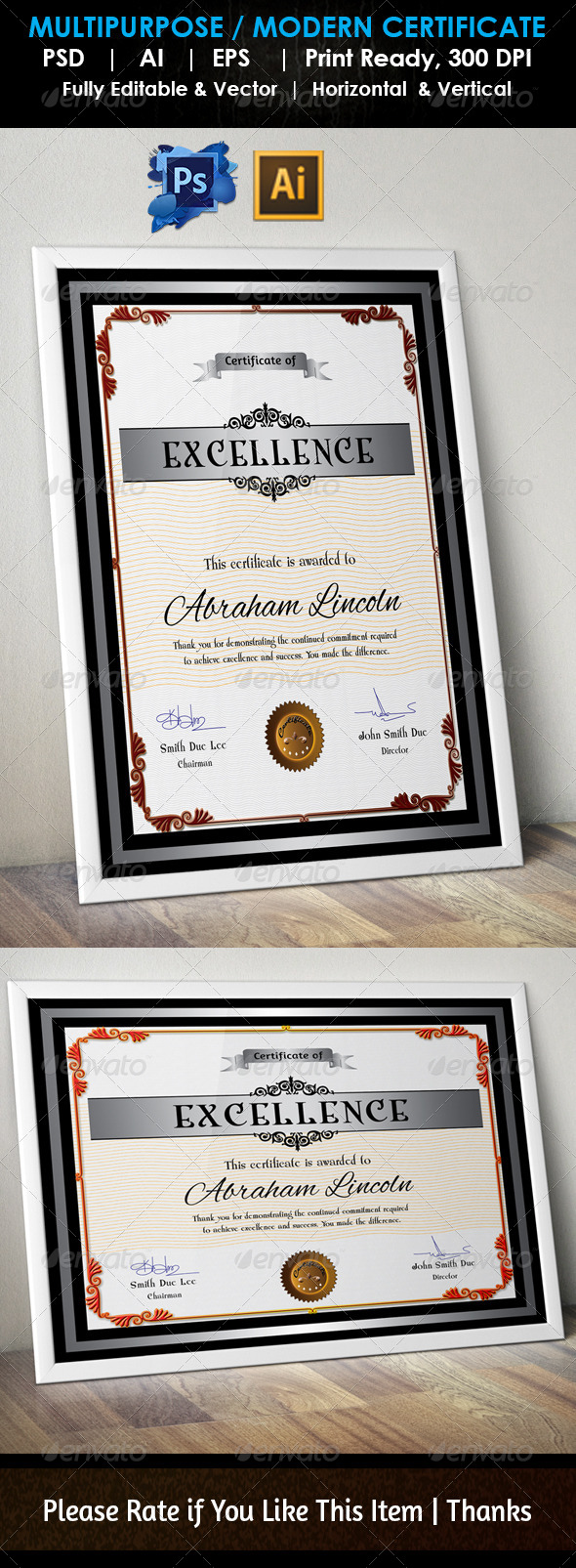 GraphicRiver Simple Excellence Certificate GD004 7593434