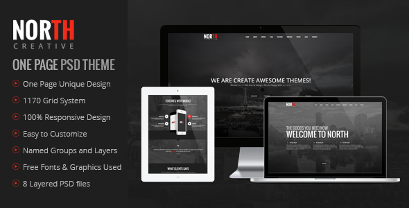 Description North is one page PSD theme. It is clean and professional theme for agencies or creative studios. It can be customized easily to suit your wishes. F