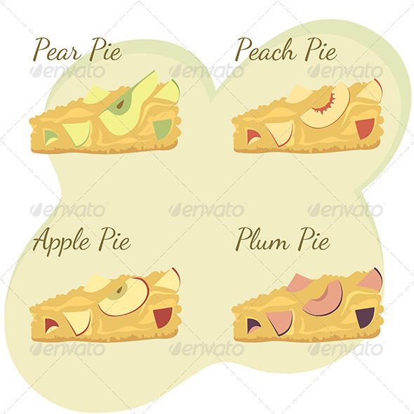 GraphicRiver Slices of Apple Pear Peach and Plum Pie 7593666