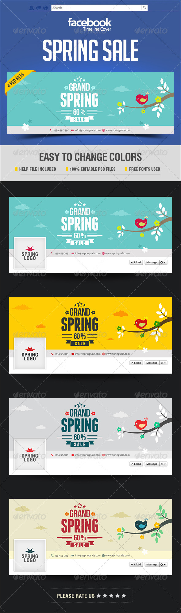 GraphicRiver Spring Sale Facebook Cover Page 7596349