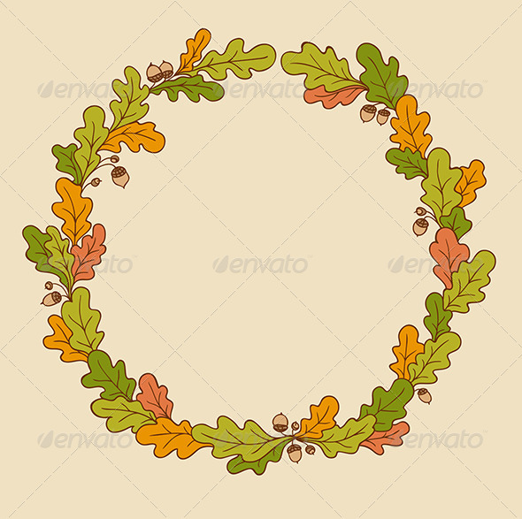 GraphicRiver Wreath of Oak Leaves 7598286
