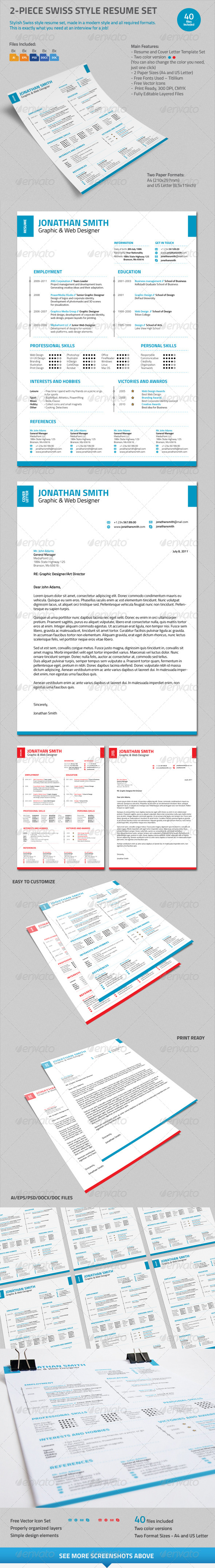 GraphicRiver 2-Piece Swiss Style Resume Set 7598392