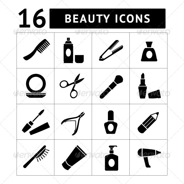 GraphicRiver Set Icons of Beauty and Cosmetics 7599148