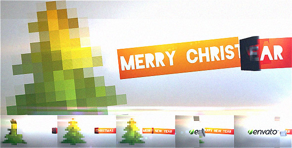 VideoHive After Effects Project - Flipping Pixel Christmas Video Greeting Card 780391