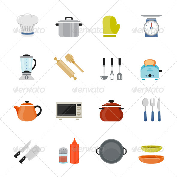 GraphicRiver Kitchenware Icon Flat Design 7601374