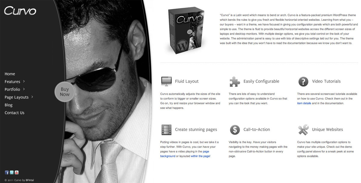 Curvo - Horizontal Premium WP Theme - Front page preview