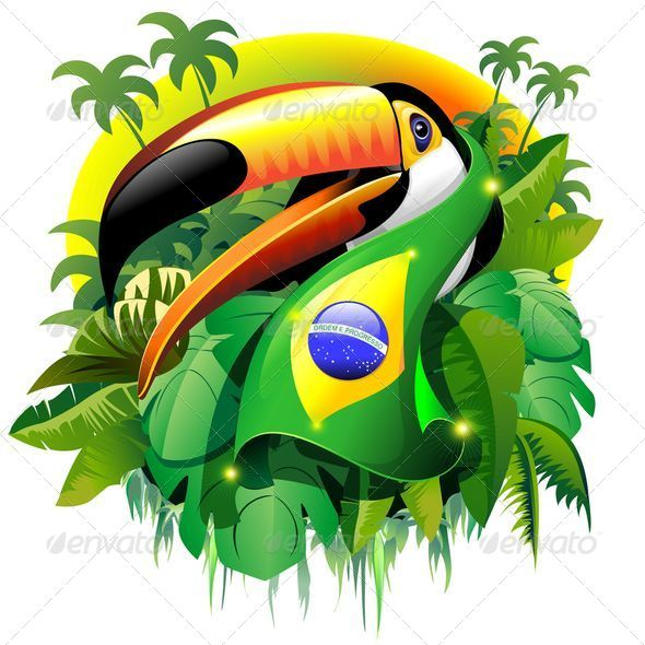 GraphicRiver Toco Toucan with Brazil Flag 7605396
