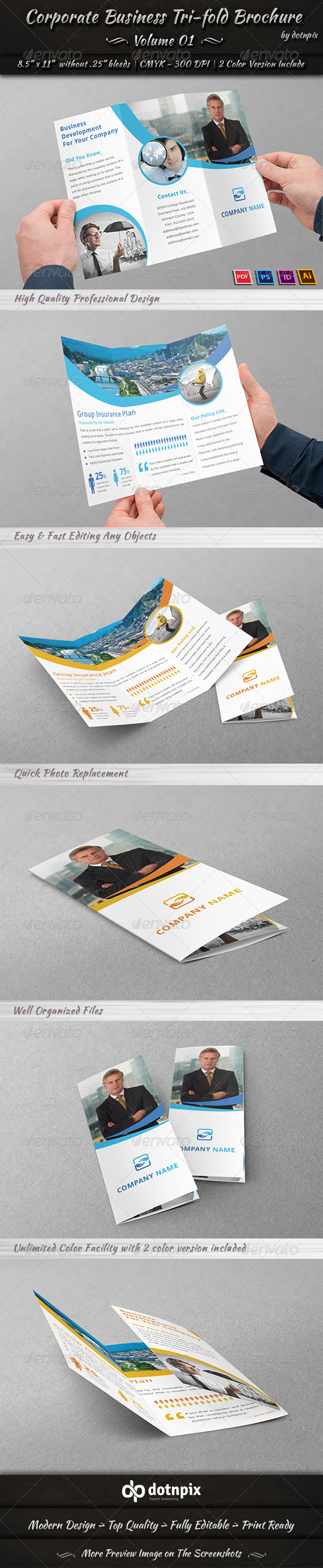 GraphicRiver Corporate Business Tri-Fold Brochure Volume 1 7606155