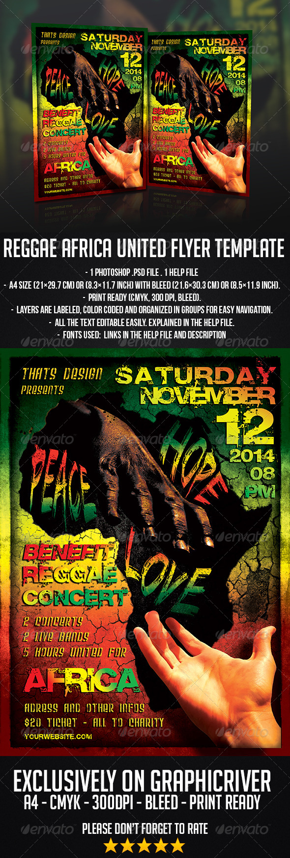 GraphicRiver Reggae Africa United Flyer Template 7595096