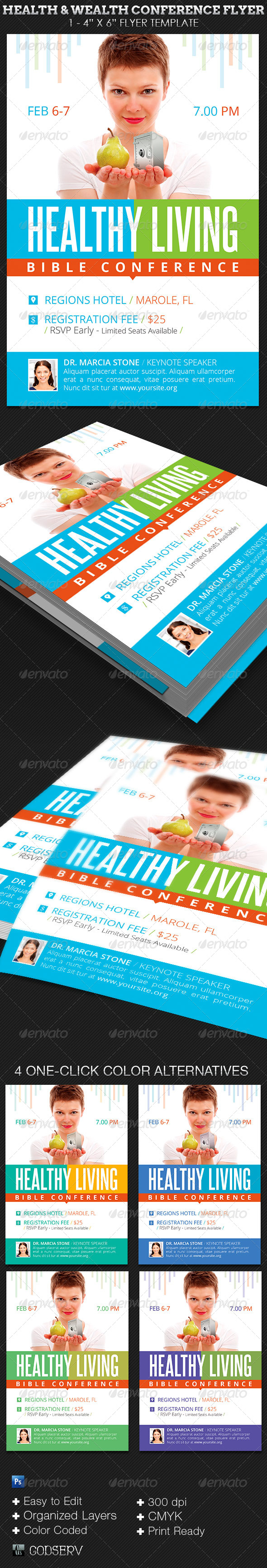 GraphicRiver Health and Wealth Church Conference Flyer Template 7606549