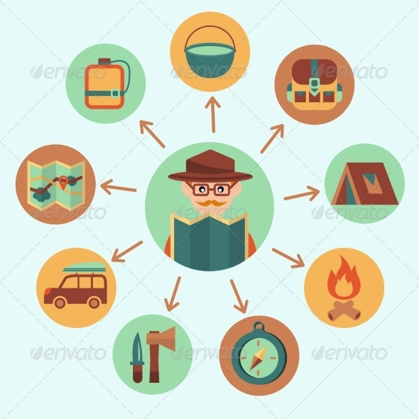 GraphicRiver Camping Icons Set 7606588