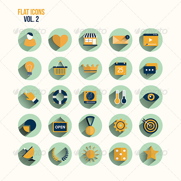 GraphicRiver Modern Flat Icons Collection with Long Shadow 7609731