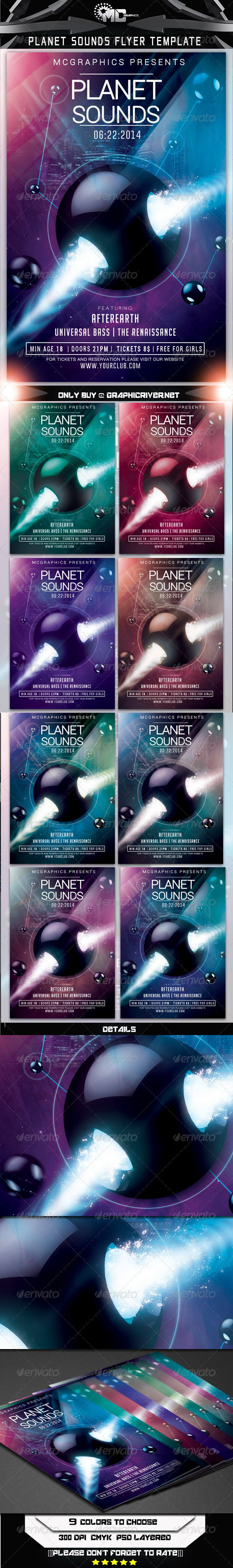 GraphicRiver Planet Sounds Flyer Template 7609842