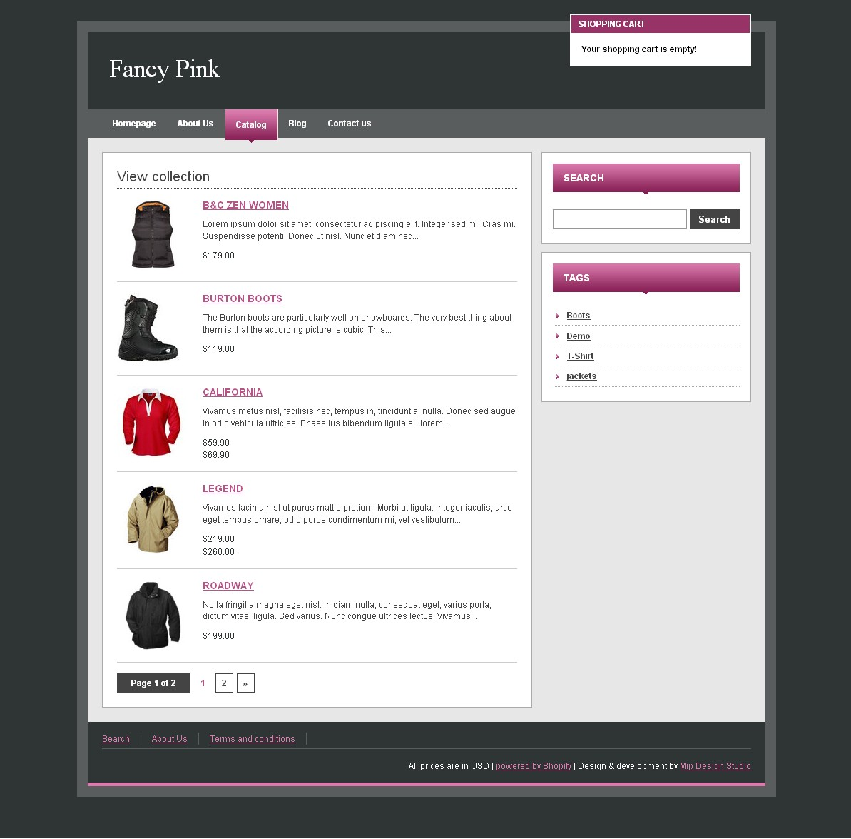 Fancy Pink - Template for catalog - list of products