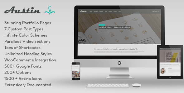 Austin is a multi-purpose WordPress theme theme delicately handcrafted to meet the needs of design agencies, artists, photographers, corporates and many other t