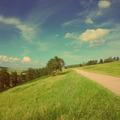 summer landscape with road - vintage retro style - PhotoDune Item for Sale