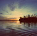 river landscape with sunset - vintage retro style - PhotoDune Item for Sale