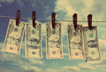 paper dollars are drying on rope - vintage retro style - PhotoDune Item for Sale