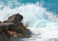 sea waves breaking on rocks - PhotoDune Item for Sale