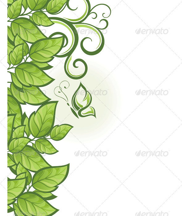 GraphicRiver Abstract Green Floral Background 7612391