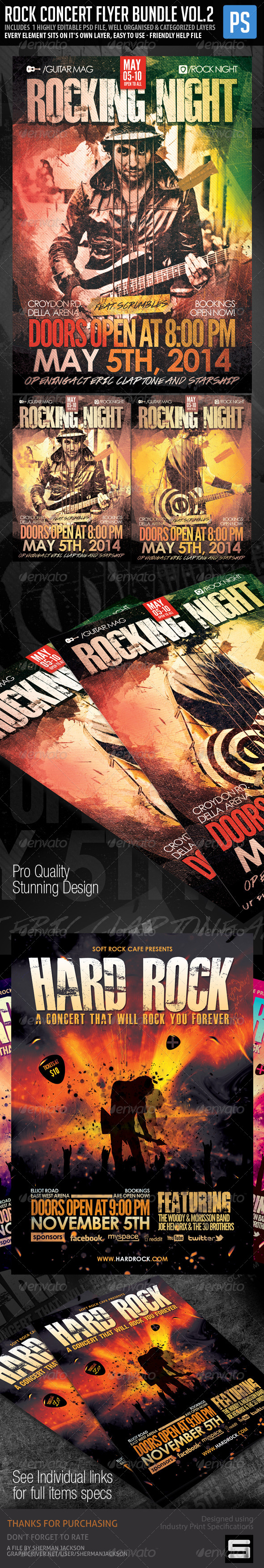 GraphicRiver Rock Concert Poster Flyer Bundle Vol.2 7612872