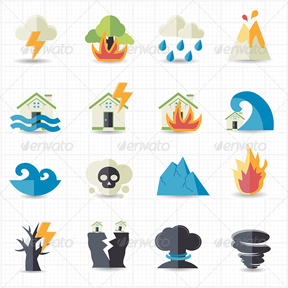 GraphicRiver Natural Disaster Icons 7613528