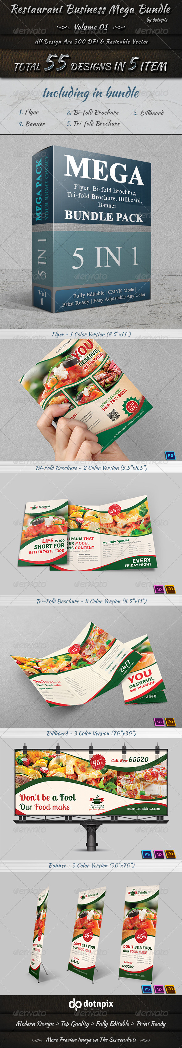 GraphicRiver Restaurant Business Mega Bundle Volume 1 7600782