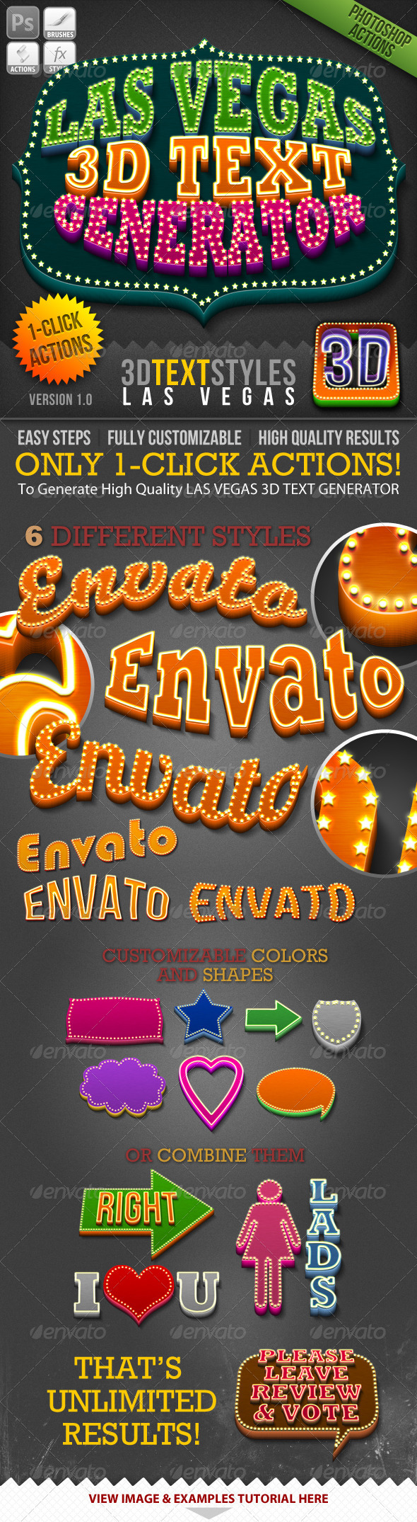 1-Click Action Las Vegas 3D Text Generator GraphicRiver - Add-ons -  Photoshop  Actions  Text Effects 781836