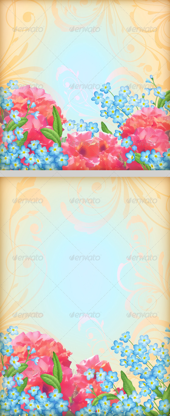 GraphicRiver Retro Flowers Roses Background Set 7614009