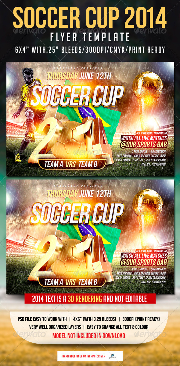GraphicRiver Soccer Cup 2014 Flyer Template 7615985