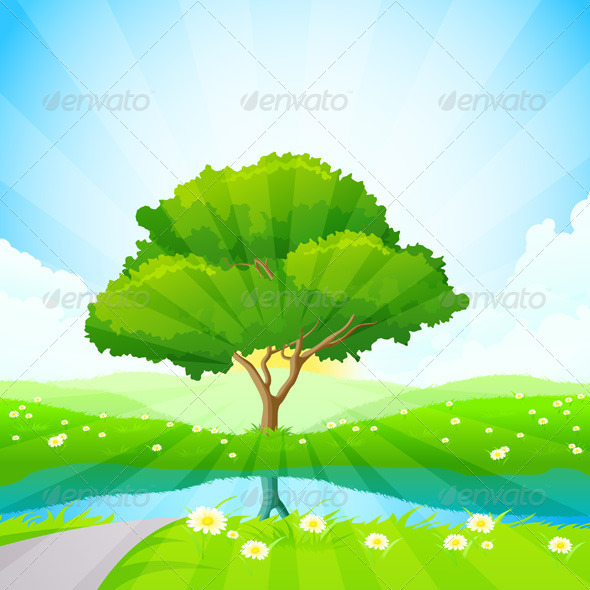 GraphicRiver Green Tree Background 7616648