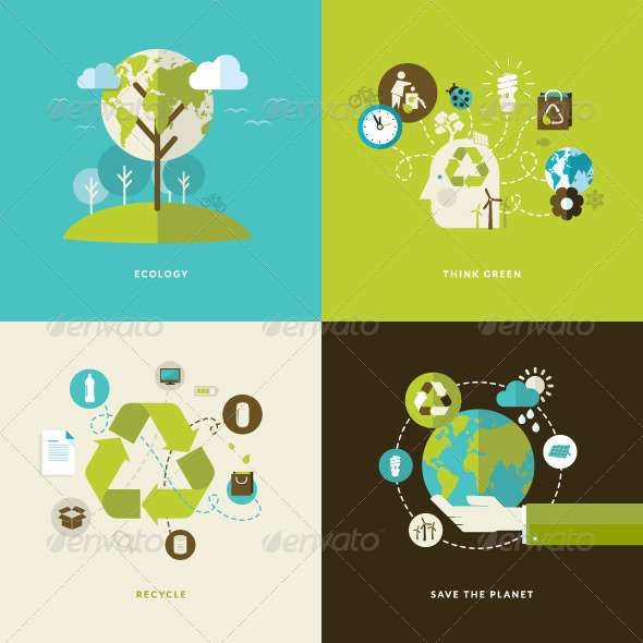 GraphicRiver Flat Design Concept Icons for Recycling 7617342